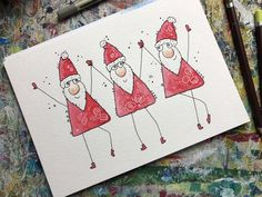Draw happy Christmas motifs with me for cards, gift tags and more . Watercolor Christmas Cards, Christmas Drawing, Christmas Paintings, Watercolor Cards, Christmas Doodles, Christmas Card Crafts, Xmas Cards, Christmas Art, Harry Potter Birthday Cards