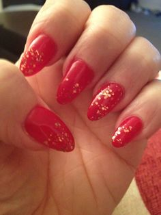 Christmas nails red and gold.  Merry Christmas.