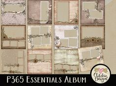 Digital Quick Page Album - Shabby P365 Essentials Digital Scrapbook Album - 12 Pre-Made Layout Pages by ClikchicDesign #photoshop #graphic #design by Clikchic Designs