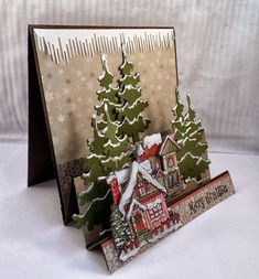 Fabric Christmas Card Winter WelcomeChristmas Cards, Holiday Cards and Winter Cards to Craft 2 Would work just as well with old cards. Homemade Christmas Cards, Christmas Cards To Make, Xmas Cards, Handmade Christmas, Homemade Cards, Holiday Cards, Christmas Crafts, Fun Fold Cards, Pop Up Cards