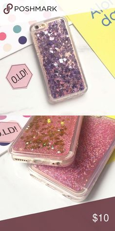 iPhone Purple Heart Liquid Glitter Case iPhone liquid glitter hearts moving waterfall case ***COLOR ACCORDING TO 1ST PIC*** IPHONE 5/5S/SE DOES NOT COVER THE EDGES Accessories Phone Cases