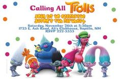 Trolls Birthday Invitations - Digital Download - Get these invitations RIGHT NOW. Design yourself online, download JPG and print IMMEDIATELY! Or choose my printing services. No software download is required. Free to try! Trolls Birthday Party, Troll Party, 6th Birthday Parties, Birthday Fun, Birthday Ideas, 41st Birthday, Batman Birthday, 2nd Birthday Invitations, Monteverde
