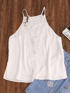 Shop Lace Applique Crisscross Plunging Cami Top online. SheIn offers Lace Applique Crisscross Plunging Cami Top & more to fit your fashionable needs.