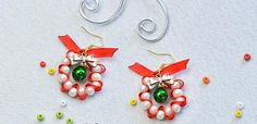 Make pretty wreath earrings to wear this season. It's a simple project that's suitable for jewelry-making beginners.