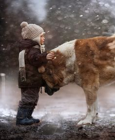 by elena shumilova, little boys and they're big dogs! Love My Dog, Puppy Love, Animals For Kids, Cute Animals, Nature Animals, Farm Animals, Tier Fotos, Big Dogs, Giant Dogs