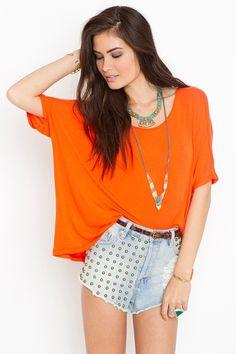 Oversized Scoop Tee - Tangerine    Style #: 16333  $38.00