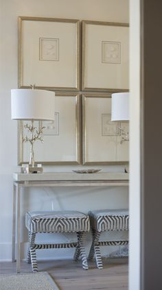 VICTORIA CIRCLE PROJECT - WHITE BUNGALOW, zebra stools, art, vignette, entry