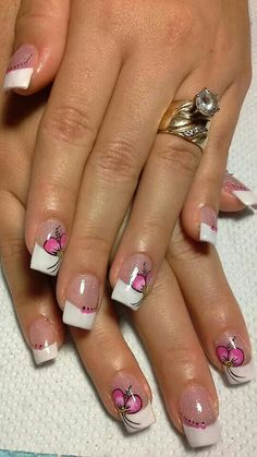 French Manicure Nails, French Nails, Gel Nails, French Nail Designs, Toe Nail Designs, Cruise Nails, Camo Nails, Nail Pops, Kawaii Nails
