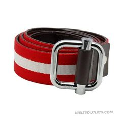 Stylish Gucci Mens RedWhite Canvas Leather Trim Belts Clearance