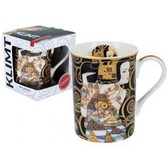 Gustav Klimt Kubek Classic 400 ml Oczekiwanie Porcelana Łódź Gustav Klimt, Glass Art, Mugs, Tableware, Classic, Porcelain Ceramics, Derby, Dinnerware, Tumblers
