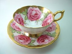 Rare Antique 1930's Aynsley Tea Cup And Saucer with Pink Roses, English bone china, Pink and gold tea cup set, Pink Rose tea cup.