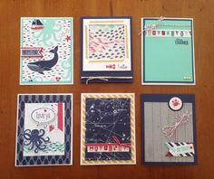 Cute nautical cards by Wendie Waldman using Stampin' Up! Sea Street, Hardwood and Just Sayin' stamp sets and Maritime Designer Series Paper.