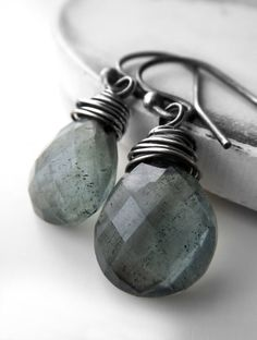Moss Aquamarine Earrings Gemstone Earrings by ShySiren on Etsy
