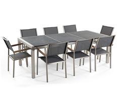 Tuinmeubel - granieten tafel 220 cm zwart gevlamd met 8 grijze stoelen - GROSSETO