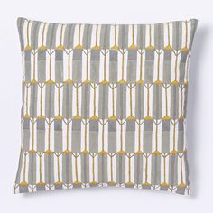 Hand-Blocked Silk Zip Stripe Cushion Cover - Platinum Option for Bed 2 with grey linen