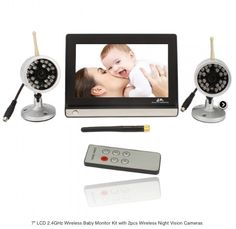 "7"" LCD 2.4GHz Wireless Baby Monitor Kit with 2pcs Wireless Night Vision Cameras"