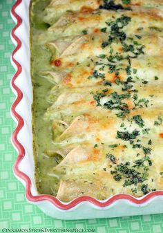 Tacuba Chicken Enchiladas  ~Chicken enchiladas smothered in a creamy poblano sauce and topped with melted cheese.