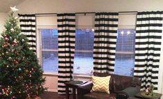"""Ready To Ship NOW! 3"""" Black and White Horizontal Stripe 84"""" Curtain Panel with Blackout Lining!"""