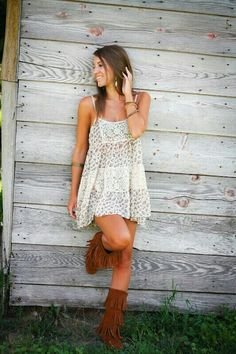 Cute summer boho dress, modern hippie suede boots. For MORE bohemian fashion trends FOLLOW http://www.pinterest.com/happygolicky/the-best-boho-chic-fashion-bohemian-jewelry-gypsy-/