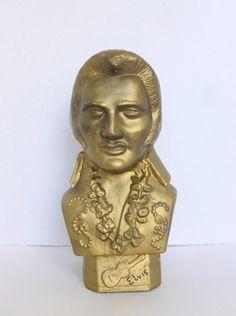 Vintage Gold Ceramic Elvis Presley Bust Head Statue Figurine The King by BornAtTheWrongTime