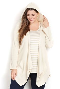 Thermal Hooded Cardigan-Plus Size Cardigan-Avenue | Sarah Slick ...