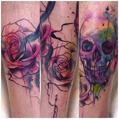 Watercolor skull & rose tattoo by Cassio Magne from Brasil. #tattoo #ink