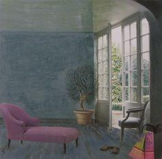 """""""L'olivier et le sofa"""" : Acrylique et collage sur toile de 30x30cm."""