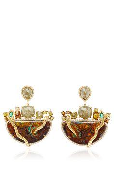 Organic Diamond,Yahwah Opals And Paraiba  Earrings by NINA RUNSDORF for Preorder on Moda Operandi
