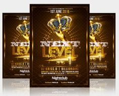 Gold Party NextLevel Flyer Template by RomeCreation