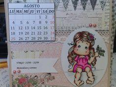 Calendario con signos zodiacales, sello de magnolia y coloreado con spectrum noir