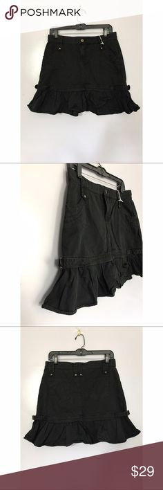 """{o&s} Black Ruffle Hem Mini Skirt Adorable mini skirt with ruffle hem, small buckles on sides and stitching detail on pockets. Tag says xxl but fits like a 6/8. Length: approx 17.5""""; waist: 30"""" o&s Skirts Mini"""