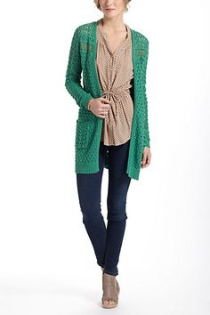 Blythe Eyelet Cardigan...reg $98, from 12/7 (fri-sun) -12/9, 30% off, so it's $68.60.     Green outer sweater. www.anthropologie.com  (go figure)