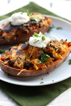 Southwestern Stuffed Sweet Potatoes. Sweet potatoes stuffed with black beans, corn, cheese, and chipotles - healthy, delicious, and vegetarian