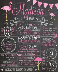 PINK FLAMINGO Birthday Chalkboard, PFLAMINGOCHALK0520