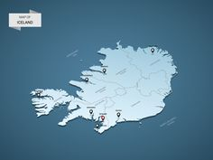 Isometric 3D Iceland map, vector illustration with cities, borders, capital, administrative divisions and pointer marks; gradient blue background. Concept for infographic.