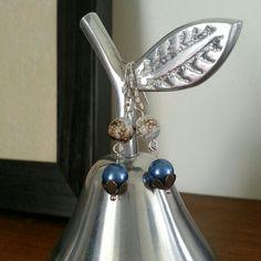 Glass pearl & agate double drop earrings. #cute
