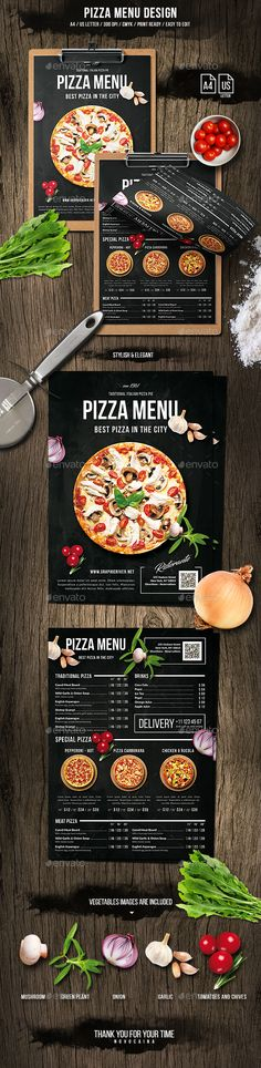 Pizza Menu Design A4 and US Letter — Photoshop PSD #pizza • Download ➝ https://graphicriver.net/item/pizza-menu-design-a4-and-us-letter/20035663?ref=pxcr