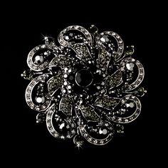 Black Antique Silver w/ Black Rhinestones Flower Brooch 79