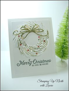 stamping up north with laurie penny black whirl wreath, Christmas card, Stampin up Six sayings