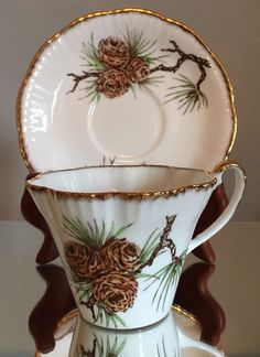 Vtg Tea Cup Saucer Set John Roth Salisbury Bone China England Pine Cone Gold | eBay
