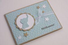 """*Glückwunschkarte zur Geburt """"Elephant""""*  Die Karte wurde aufwändig mit einem Organzaband und  div. ausgestanzten Elementen verziert. Sie wurde per Hand bestempelt und geprägt.  Die Karte..."""