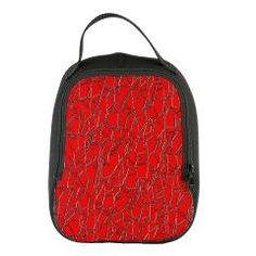 Stunning Red Cracked Leather Neoprene Lunch Bag #bag #lunchbag