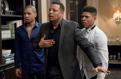 "From left, Jussie Smollet (as Jamal), Terrence Howard (Lucious Lyon) and Bryshere Gray (Hakeem) on ""Empire."""