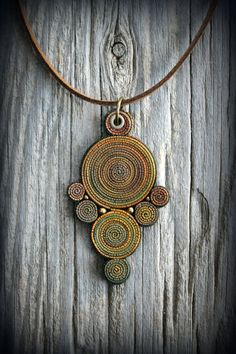 Bohemio polímero arcilla colgante declaración collar hada mandala tierra gitana psychedelic arte usable hippie joya