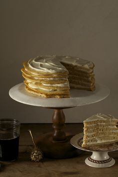 """The Pancake Cake with Maple Frosting from the """"Autumn"""" section of the Beekman 1802 Heirloom Dessert Cookbook http://shop.beekman1802.com/collections/cookbooks/products/copy-of-the-beekman-1802-heirloom-dessert-cookbook-autographed"""