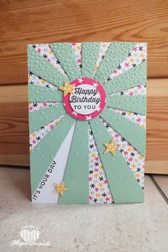 Magical Scrapworld: Sunburst, cards, circle collections framelits, it's my party, itty bitty accents punch, Stampin' Up!, sunburst sayings, spring catalogue 2016