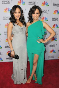 Tia And Tamera Mowry...love the dress on the right for bridesmaids!!!