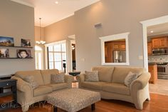 Behr's Perfect Taupe -- used in foyer and kitchen with oak cabinets - LOOK AT ALL THE PICS, very nice