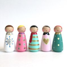 conjunto de invierno 5 peg muñecas con fieltro dormir bolso /