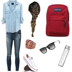 Denim outfit for school by gomezpaulian on Polyvore featuring polyvore fashion style J Brand Converse JanSport Ray-Ban Black Rivet